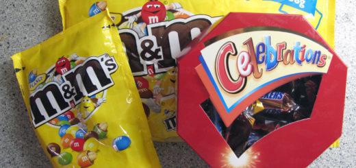 Großpackung m&m's und Celebrations als Entschädigung für entgangenen Knabberspaß