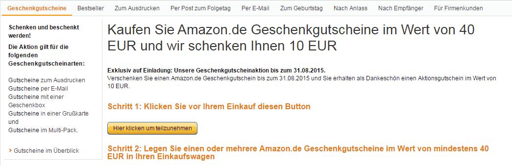 10 Euro Extra beim Kauf von 40 Euro Amazon Gutschein