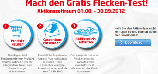 Ariel Fleckentferner Cashback-Aktion
