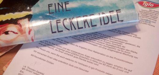 Iglo Entschuldiungsschreiben, Einkaufstasche und 5 Euro Edeka Gutschein
