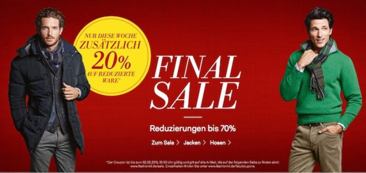Peek & Cloppenburg Fashion ID Sale mit 20% extra Rabatt